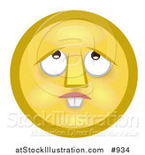Illustration of a Confused Yellow Smiley Face with Buck Teeth, Lost in Thought, Looking Upwards by AtStockIllustration