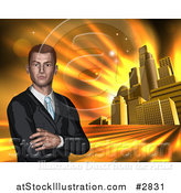 Illustration of a Corporate Businessman with Folded Arms Against a Golden City by AtStockIllustration