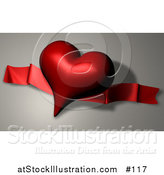 Illustration of a Dark Red Heart Shaped Balloon and Ribbon on Valentines Day by AtStockIllustration
