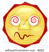 Illustration of a Dazed and Confused Yellow Smiley Face High on Drugs by AtStockIllustration