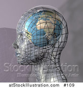 Illustration of a Futuristic Human Head in Profile with a Globe Inside the Brain by AtStockIllustration