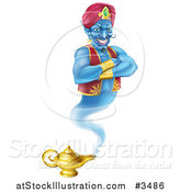 Illustration of a Genie Emerging from His Lamp by AtStockIllustration