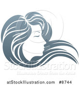 Illustration of a Gradient Beatiful Woman's Face in Profile, with Long Hair Waving in the Wind by AtStockIllustration