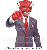 Illustration of a Greedy Devil Pointing While Wearing a Business Suit and Grinning by AtStockIllustration