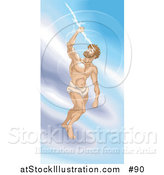 Illustration of a Greek God, Zeus, Standing on a Cloud and Grasping a Thunderbolt by AtStockIllustration