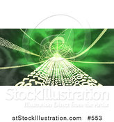 Illustration of a Green Background of Binary Coding and Fractals by AtStockIllustration