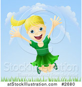 Illustration of a Happy Blond Girl Jumping Outdoors by AtStockIllustration