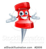 Illustration of a Happy Red Push Pin Mascot by AtStockIllustration