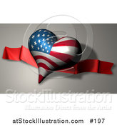 Illustration of a Heart with American Stars and Stripes on a Banner by AtStockIllustration
