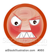 Illustration of a Hostile Smiley Clenching Its Teeth by AtStockIllustration