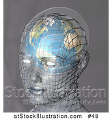 Illustration of a Human Head with a Globe Inside the Brain by AtStockIllustration