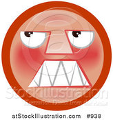 Illustration of a Mad Red Smiley Face Looking Upwards by AtStockIllustration
