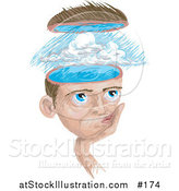 Illustration of a Man with a Storm in His Head by AtStockIllustration