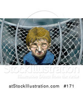 Illustration of a Miserable Boy by a Chainlink Fence on a Playground on a Stormy Day by AtStockIllustration