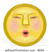 Illustration of a Modest Female Yellow Smiley Face Blushing by AtStockIllustration
