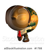 Illustration of a Pete Man Character Carrying a Heavy Globe on His Back by AtStockIllustration