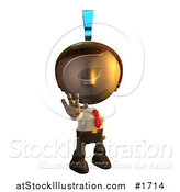Illustration of a Pete Man Character Holding out His Hand with an Exclamation Point Above His Head by AtStockIllustration
