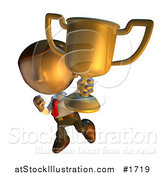 Illustration of a Pete Man Character Showing off His Trophy Cup by AtStockIllustration