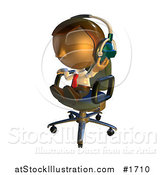 Illustration of a Pete Man Character Sitting in a Chair and Wearing Headphones by AtStockIllustration