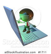 Illustration of a Pete Man Character Standing on a Laptop and Pointing at the Screen by AtStockIllustration