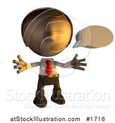 Illustration of a Pete Man Character with a Speech Bubble by AtStockIllustration