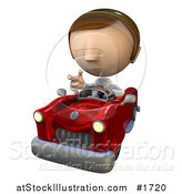 Illustration of a Pete Man Character with Road Rage, Driving a Convertible Car by AtStockIllustration