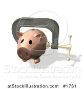 Illustration of a Piggy Bank Being Squeezed in Vice Grips by AtStockIllustration