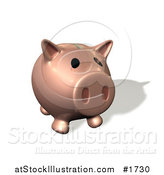 Illustration of a Pink 3d Piggy Bank with His Snout Facing Front by AtStockIllustration