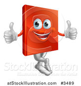 Illustration of a Pleased Red Book Mascot Holding Two Thumbs up by AtStockIllustration