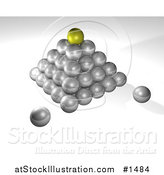 Illustration of a Pyramid of Silver Balls, on a Gray and White Background, Symbolizing Success, Leadership and Management by AtStockIllustration