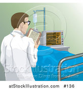 Illustration of a Rear View of a Male Doctor Checking in on a Patient in a Hospital by AtStockIllustration