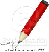 Illustration of a Red Pencil Drawing by AtStockIllustration