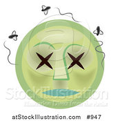 Illustration of a Rotten Dead Emoticon with Swarming Flies by AtStockIllustration