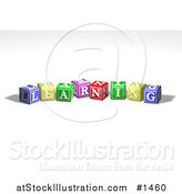 Illustration of a Row of Colorful Red, Yellow, Green, Pink and Red Toy Alphabet Blocks Spelling out LEARNING by AtStockIllustration