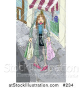 Illustration of a Sad Woman Carrying Shopping Bags in Pouring Rain by AtStockIllustration