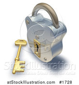 Illustration of a Shiny Padlock and Key by AtStockIllustration