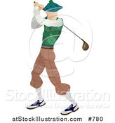 Illustration of a Skinny Caucasian Male Golfer Golfing on the Golf Course Sports by AtStockIllustration
