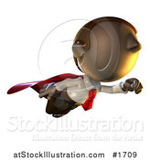 Illustration of a Super Hero Pete Man Character Flying by AtStockIllustration