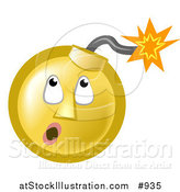 Illustration of a Ticking Time Bomb Smiley Face Looking up at the Fuse by AtStockIllustration