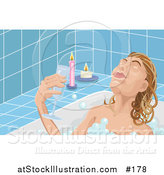 Illustration of a Woman Taking Time to Unwind at the End of Her Day, Soaking in a Relaxing Bubble Bath and Drinking Wine by Candlelight by AtStockIllustration