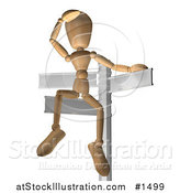 Illustration of a Wooden Figure Seated on a Sign Post, Looking out into the Distance, Symbolizing Opportunity and Options by AtStockIllustration