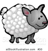 Illustration of a Wooly Sheep on a Farm by AtStockIllustration