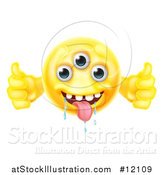 Illustration of a Yellow Drooling Alien Monster Emoji Emoticon Smiley Holding Two Thumbs up by AtStockIllustration