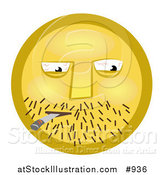 Illustration of a Yellow Smiley Face Smoking a Doobie by AtStockIllustration