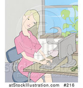 Illustration of a Young Blond Woman Working on a Computer at a Desk in an Office by AtStockIllustration