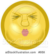 Illustration of an Emoticon Holding Breath by AtStockIllustration