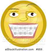 Illustration of an Emoticon Showing Braces on Teeth by AtStockIllustration