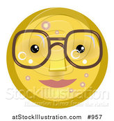 Illustration of an Emoticon with Pimples, Wearing Glasses by AtStockIllustration