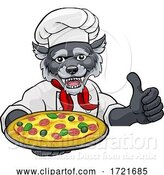 Illustration of Cartoon Wolf Pizza Chef Restaurant Mascot Sign by AtStockIllustration