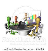 Illustration of Colorful and Diverse Dummy Figures Using Laptops and a Bar Graph on a Board in a Meeting by AtStockIllustration